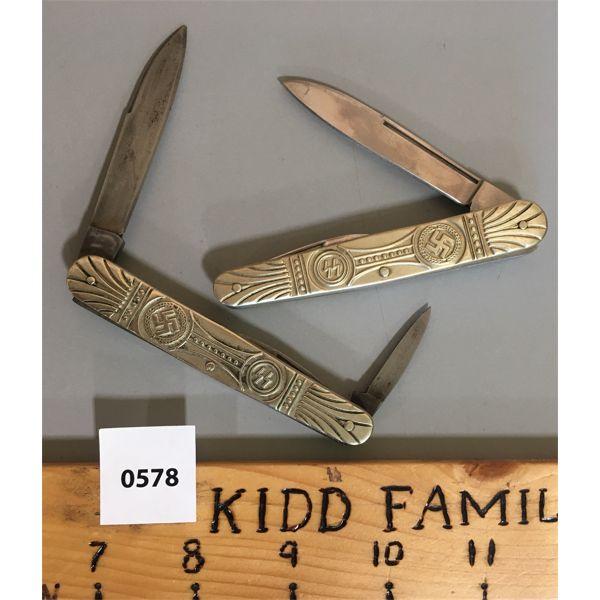LOT OF 2 - VINTAGE REPRO NAZI SS POCKET KNIVES