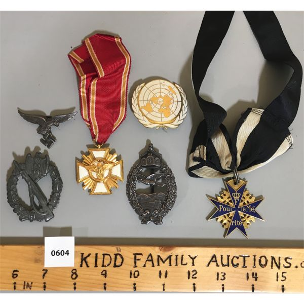 LOT OF 6 - GERMAN MEDALS & PINS - ? REPROS
