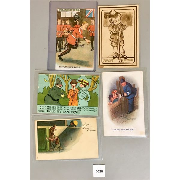 5X COMEDIC MILITARY & POLICE POST CARDS