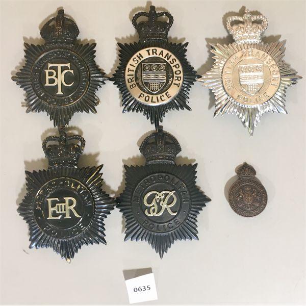 6X POLICE INSIGNIA- BRITISH TRANSPORT & METROPOLITAN - BOBBY HELMET PLATES