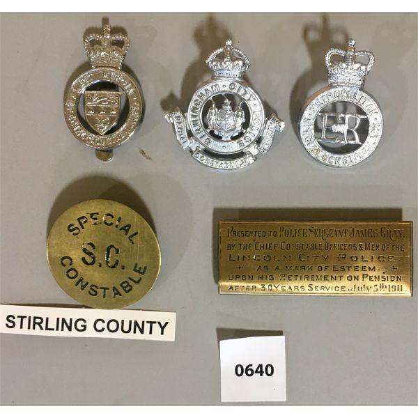 5X POLICE INSIGNIA- INCL RETIREMENT BRASS