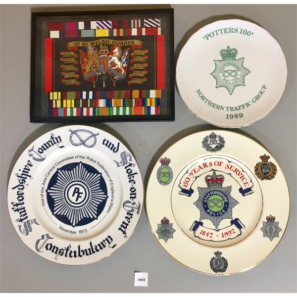 3X STAFFORDSHIRE POLICE PLATES & 1ST BN WELSH GUARDS PLAQUE