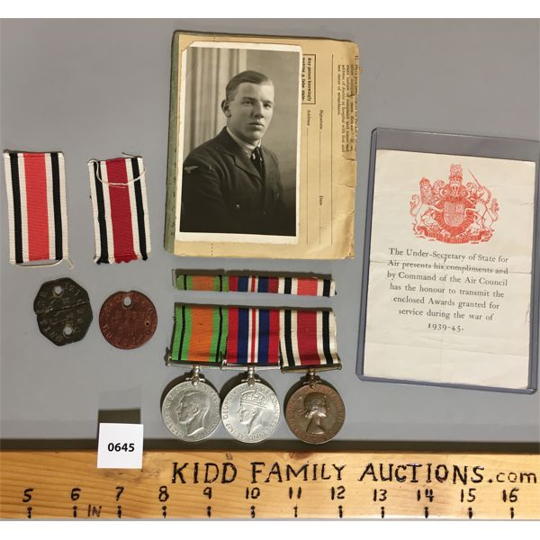 MEDAL BAR SET & DOG TAGS, BOOK FOR WWII BRITISH SERVICEMAN