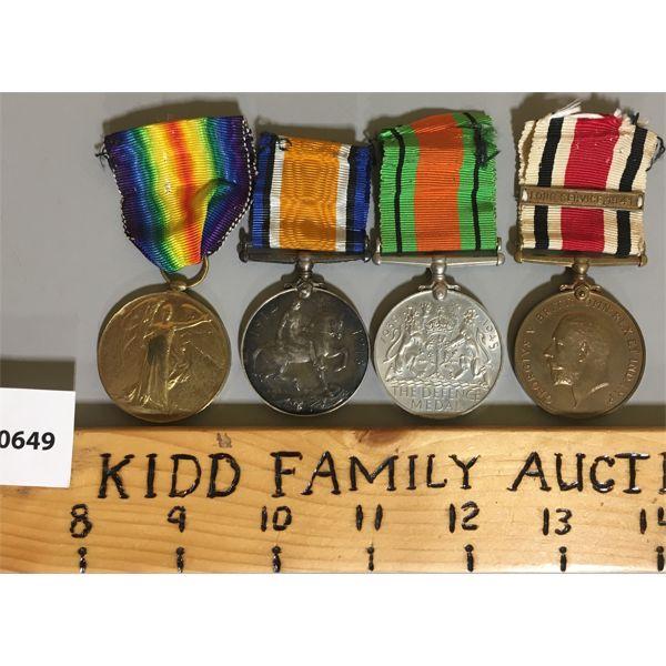 LOT OF 4 - METAL BAR FOR WWI & WWII - PTE F. ROWE R.A.M.C.