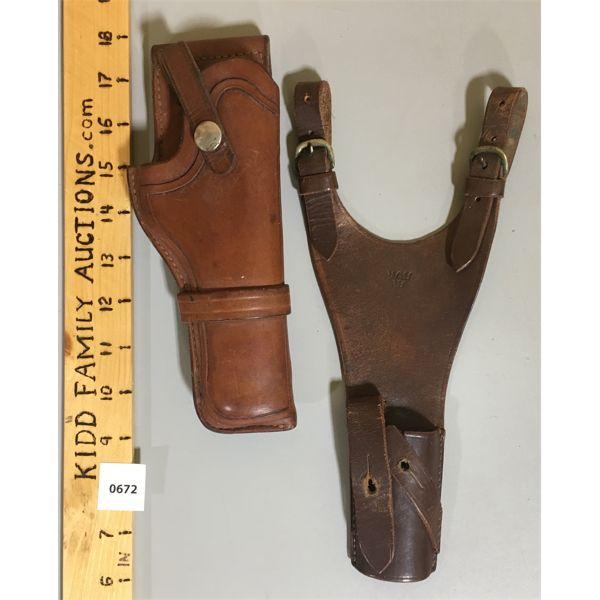 LOT OF 2 - LEATHER HOLSTERS - BROWNING & TRIPLE CROWN MARKINGS