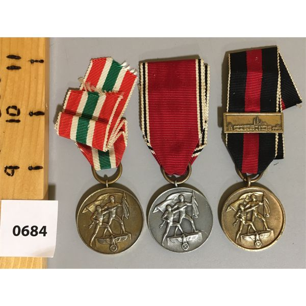 LOT OF 3 - WWII 1938 /39 COMMEMORITIVE GERMAN MEDALS