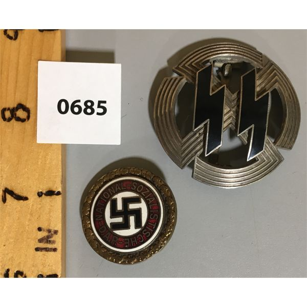 LOT OF 2 - GERMANIC PROFICIENCY RUNS SPORT BADGE - 1943 SILVER & N.S.D.A.P. GOLDEN PARTY BADGE