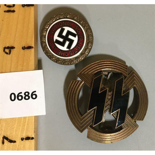 LOT OF 2 - GERMANIC PROFICIENCY RUNS SPORTS BADGE -1943 BRONZE & N.S.D.A.P. GOLDEN PARTY BADGE