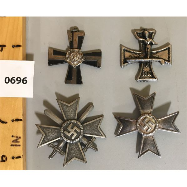 LOT OF 4 - GERMAN / FINISH MILTARY BADGES / MEDALLIONS
