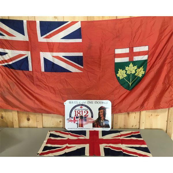 LOT OF 3 - TIN SIGN, COTTON UNION JACK FLAG & FLAG OF ONTARIO