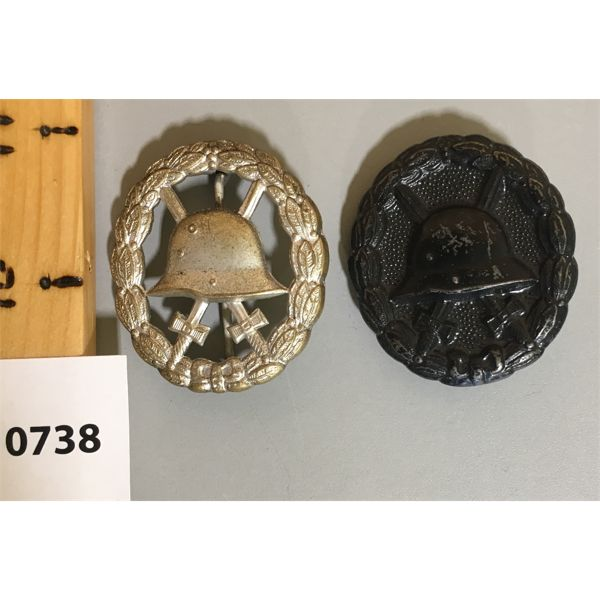 LOT OF 2 - GERMAN WOUND BADGES