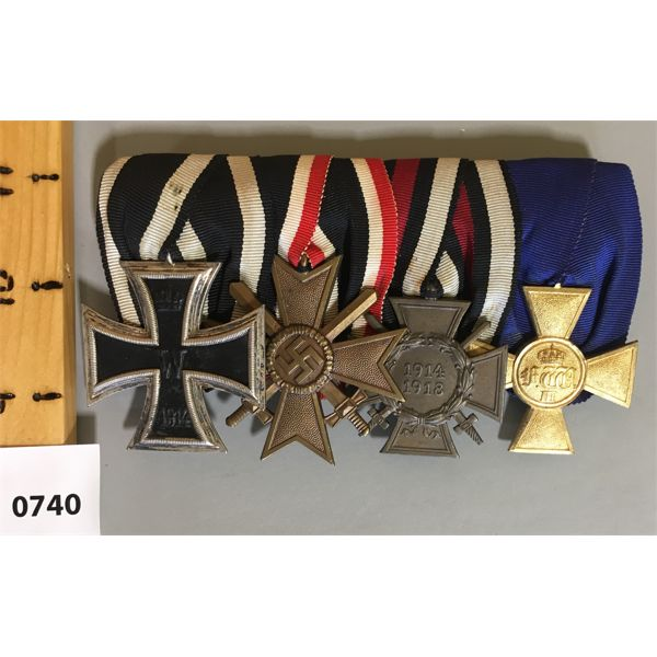 4 MEDAL BAR SET - WWI / WWII - GERMAN - MERIT CROSS