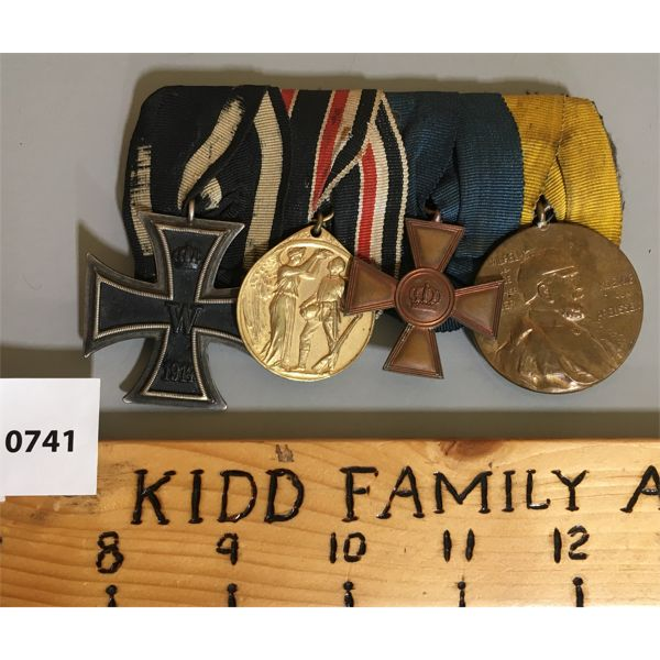 4 MEDAL BAR SET - WWI - GERMAN - LONG SERVICE & KIASER CENTURY