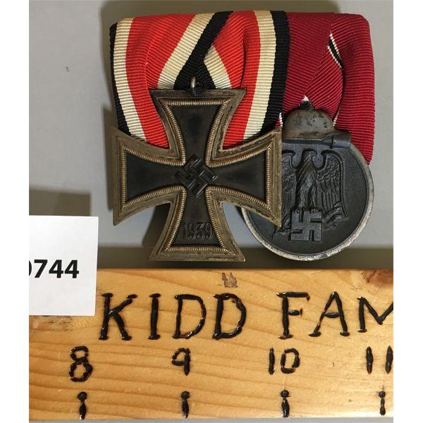 2 MEDAL BAR SET - WWII - GERMAN - IRON CROSS 1ST CLASS