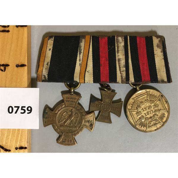 GERMAN 3 MEDAL BAR SET - 1866 TO 1871