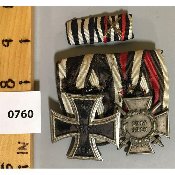 GERMAN 2 MEDAL BAR SET - WWI - 1914 TO 1918