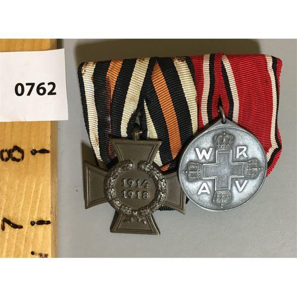 GERMAN 2 MEDAL BAR SET - WWI - HINDENBURG CROSS & EARLY RED CROSS MEDAL