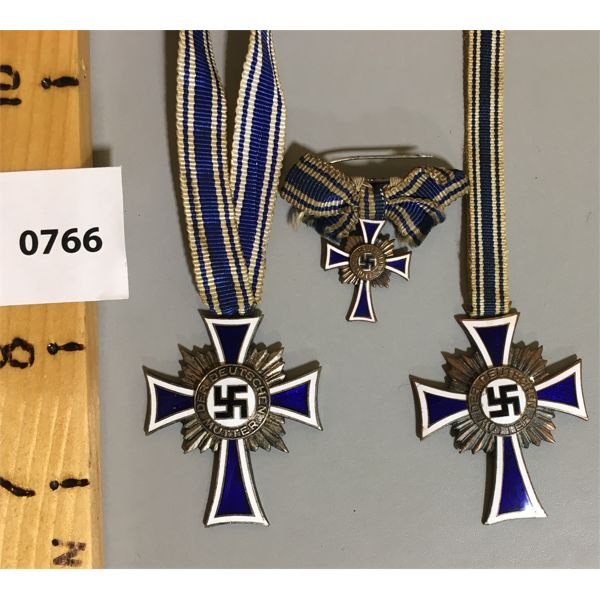 LOT OF 3 - GOLD MOTHERS CROSS - 1ST CLASS BRONZE FOR 4/5 OFFSPRING.