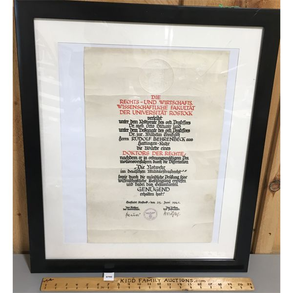 1941 FRAMED GERMAN MILITARY DOCUMENT - 22 X 26 INCHES