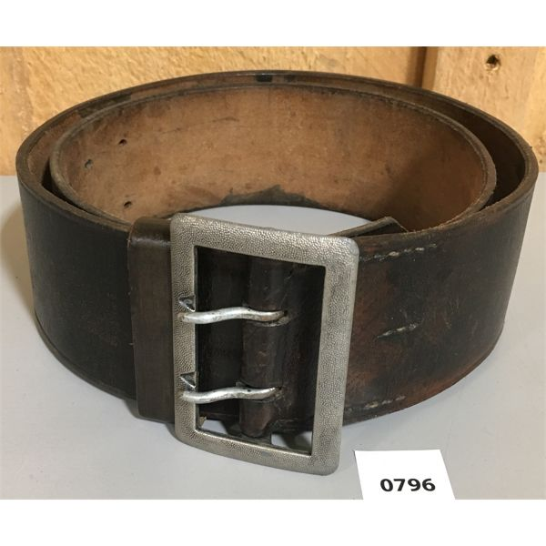 WWII GERMAN OFFICERS LEATHER BELT W/ BUCKLE - 43 INCHES