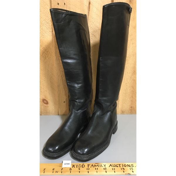 WWII GERMAN NSDAP - SS HIGH-TOP LEATHER OFFICERS BOOTS - STAMPED - EXCELLENT CONDITION