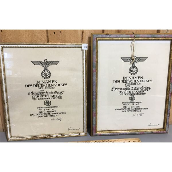 LOT OF 2 - 1940/41 FRAMED GERMAN IRON CROSS AWARD - 14 X 18 INCHES