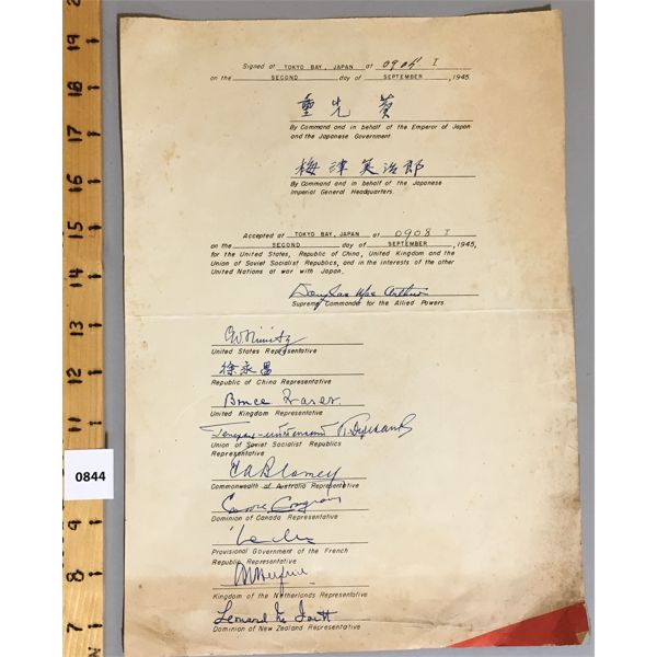 UNITED NATIONS DUCUMENT - 1945 - SIGNED BY ALLIED POWERS