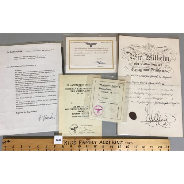 LOT OF 5 - MISC GERMAN MILITARY DOCUMENTATION INCL. SECURITY SERVICE CARD, HIMMLER LETTER, ETC.
