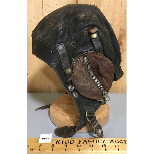 MILITARY ISSUE - LEATHER FLIGHT CAP - MARKED 1535192