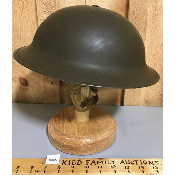 1942 COMBAT HELMET MARKED W ON OUTER SURFACE.