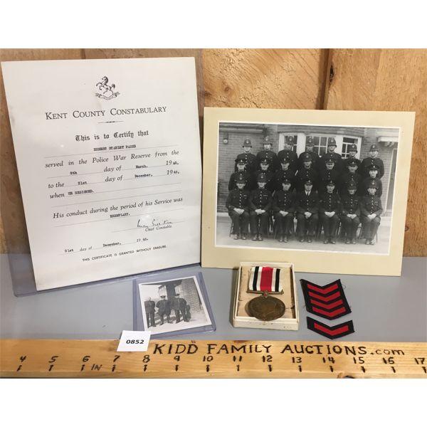 WWII POLICE WAR RESERVE - IDENTIFIED MEDAL & DOCUMENTATION