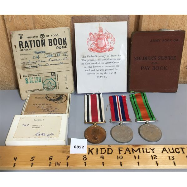 LOT OF WWII MEDALS / PAYBOOK / RATIONS BOOK - FOR HAROLD JOHN PEARCE - SURVEYOR