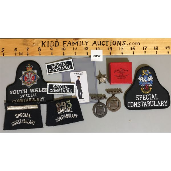 JOB LOT - FAITHFUL SERVICE IN SPECIAL CONSTABULARY LONG SERVICE MEDALS & PATCHES