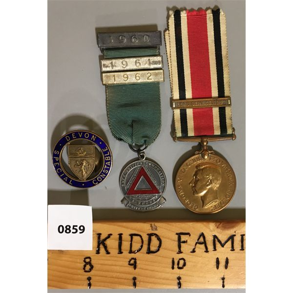 LOT OF 3 - FAITHFUL SERVICE IN SPECIAL CONSTABULARY MEDALS & 1960's SAFE DRIVING AWARD.