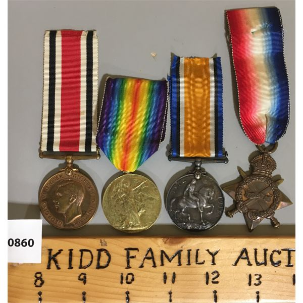 LOT OF 4 - BRITISH WWI SERVICE MEDALS.