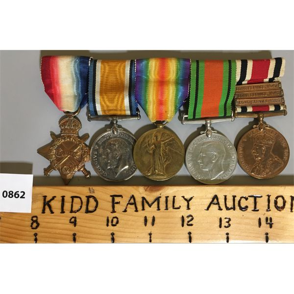 5 MEDAL BAR SET - WWI & WWII - CPL. AW TAYLOR - SUFF. R.