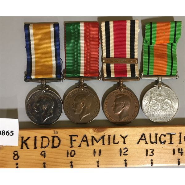 LOT OF 4 - WWI & WWII SERVICE MEDALS - ELVERIE HINCHCLIFFE