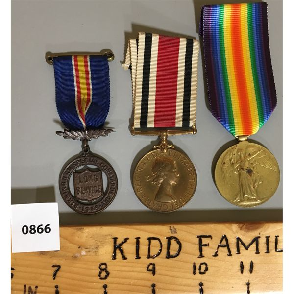 LOT OF 3 - WWI SERVICE MEDAL, SPL CONSTABLE LONG SERVICE 1916