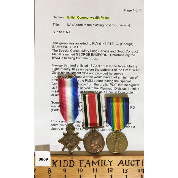 LOT OF 3 - WWI SERVICE MEDALS W/ RESEARCH