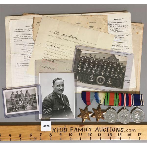 JOB LOT - 5 MEDAL BAR SET - WWII - PHOTOS & ORIGINAL DOCUMENTATION