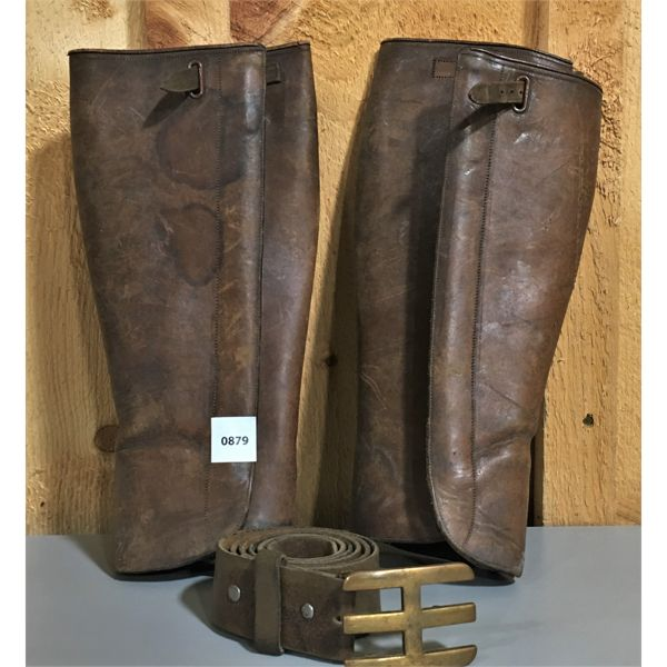 LOT OF 2 - LEATHER LEG PROTECTION & 42 INCH BELT