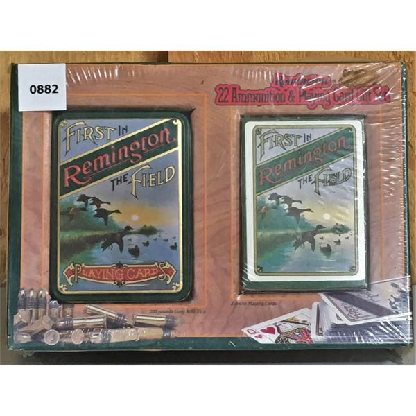 REMINGTON COLLECTIBLE TIN  W/ 200 X .22 LR AMMO & PLAYING CARDS