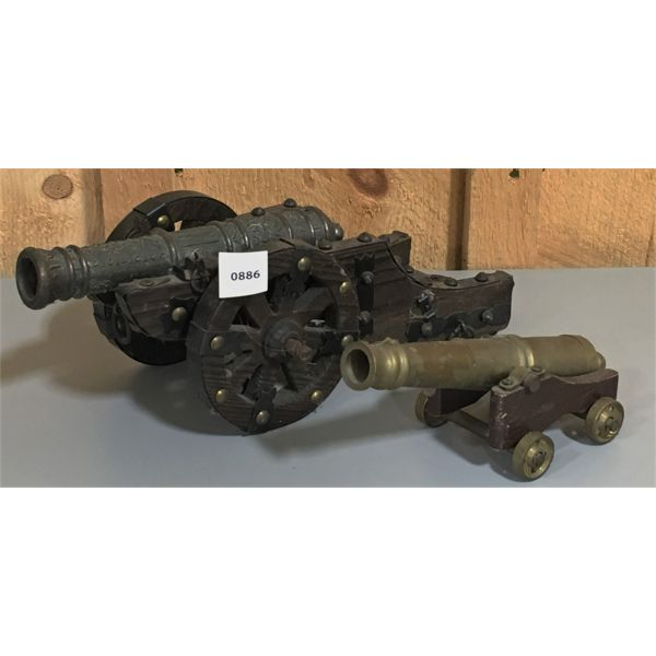 LOT OF 2 - CAST CANNONS - 8 INCH BARRELS - 1 X TOUCH HOLE