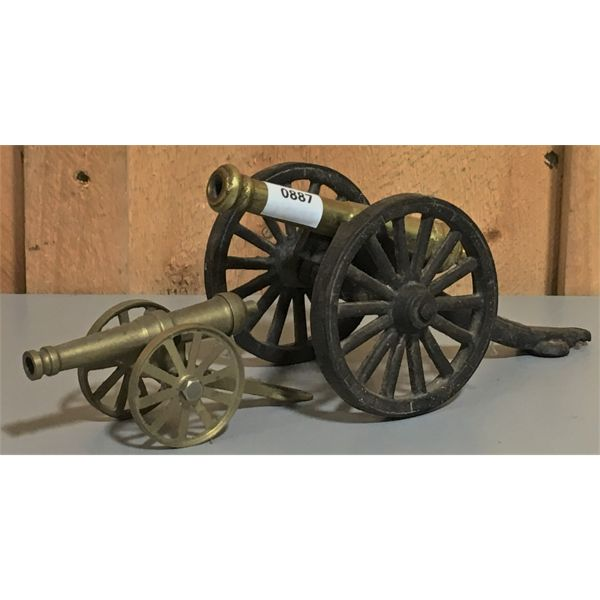 LOT OF 2 - CAST CANNONS - 4 & 5 INCH BARRELS - NO TOUCH HOLES