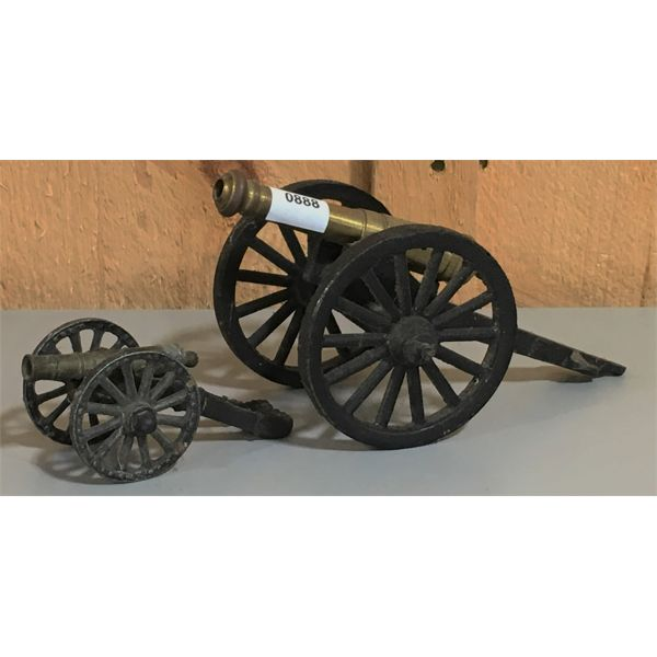 LOT OF 2 - CAST CANNONS - 3 & 5 INCH BARRELS - 2 X TOUCH HOLES