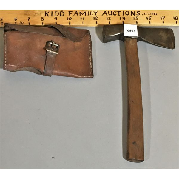 HATCHET WITH LEATHER COVER - MARKED BROCKVILLE