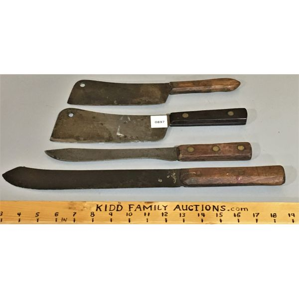LOT OF 4 - CLEAVERS & KNIVES - MARKED UDICA SUPER EDGE