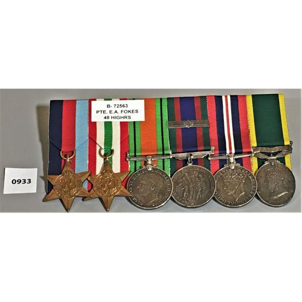 WWII 6 MEDAL BAR SET - PTE EA FOKES - 48 HIGHLANDERS