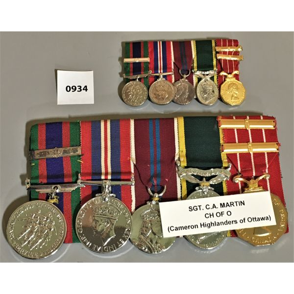 LOT OF 2 - 5 MEDAL BAR SETS - WWII - SGT CA MARTIN -  CH OF O