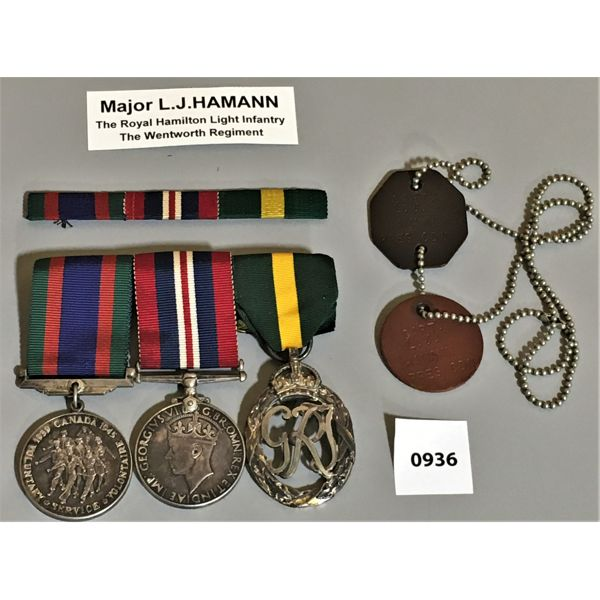 LOT OF 2 - WWII 3 MEDAL BAR SET & DOG TAGS